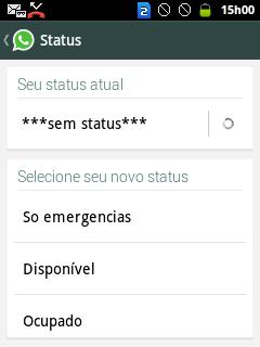 Opção status do WhatsApp
