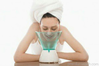 Steam to treat pimples
