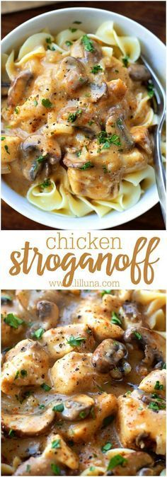 This Homemade Chicken Stroganoff Is Delicious And Perfect For Dinner Any Night Of The Week. Its Full Of Flavor And Is Made Start To Finish In Under 40 Minutes!
