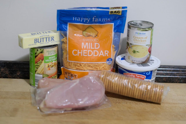 The ingredients needed to make the Ritz Cracker Chicken Bake recipe.