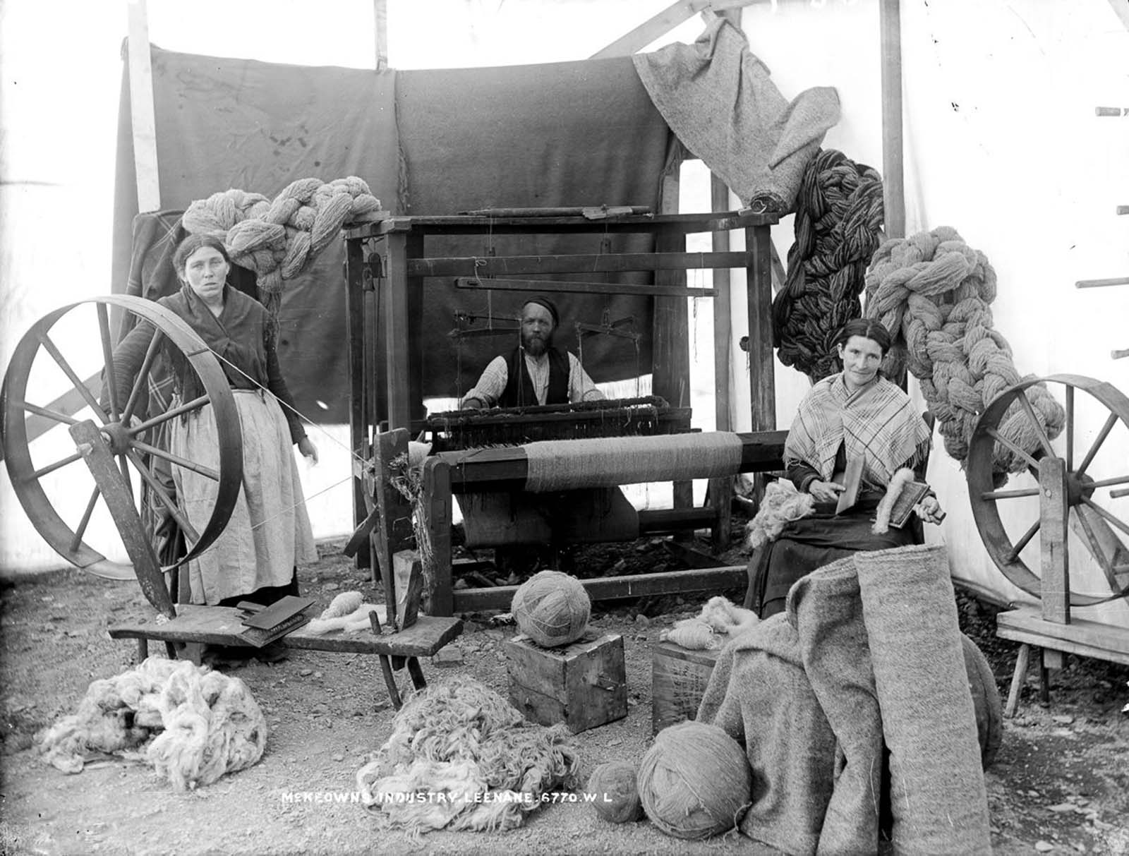 A wool operation in Leenane, County Galway. 1910.