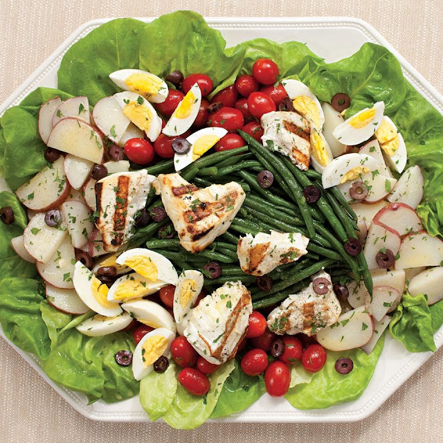 Grilled Halibut Salad Nicoise Recipe - Mediterranean Diet