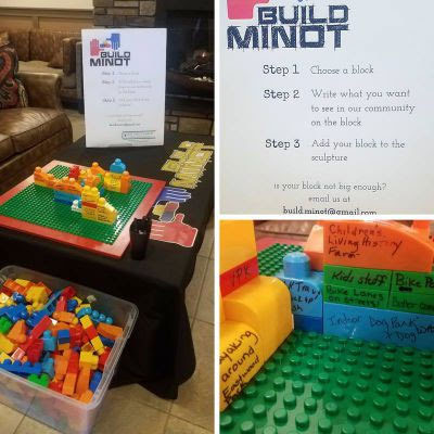 Build Minot: Step 1 Choose a block, Step 2 Write what you want to see in our community on block, Step 3 Add block to sculture