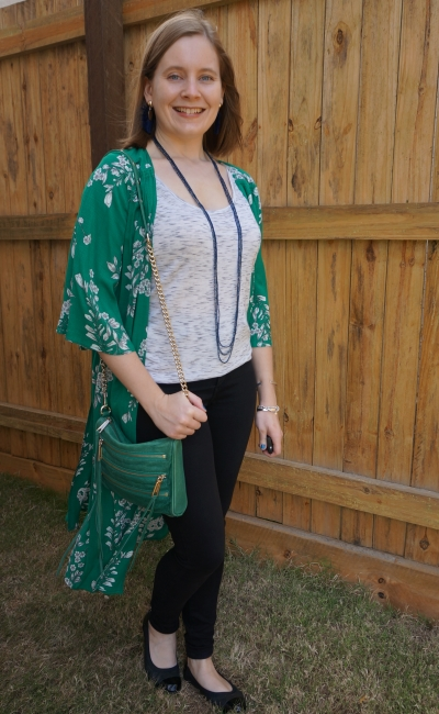 Jeanswest Delilah Long Line Kimono in Green Floral black skinny jeans space dye top spring SAHM fashion show outfit | awayfromblue