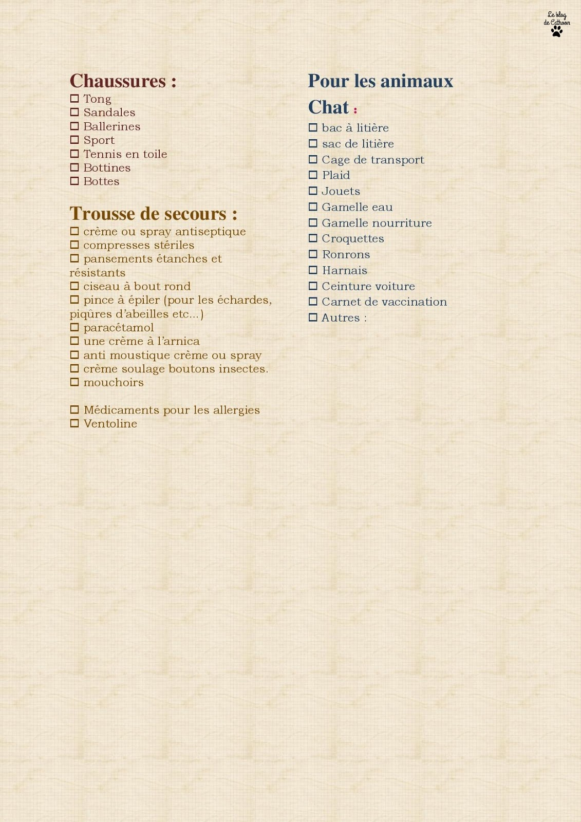 Check List vacances