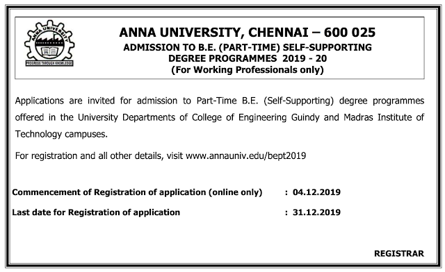 Anna University BE Part-Time Admission 2020 Notification