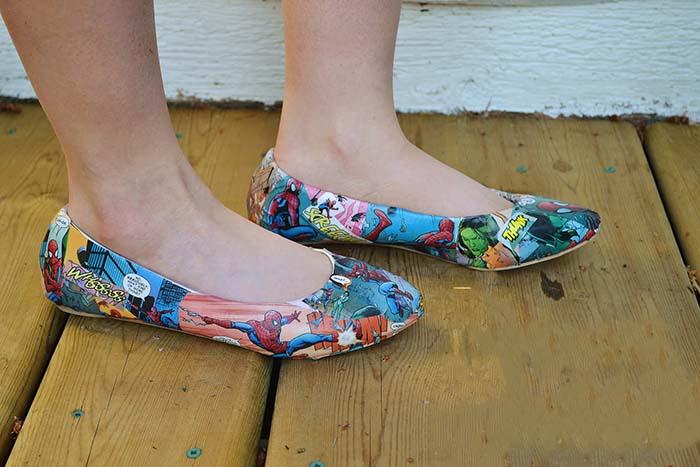 kendin yap çizgi roman baskılı  ayakkabı