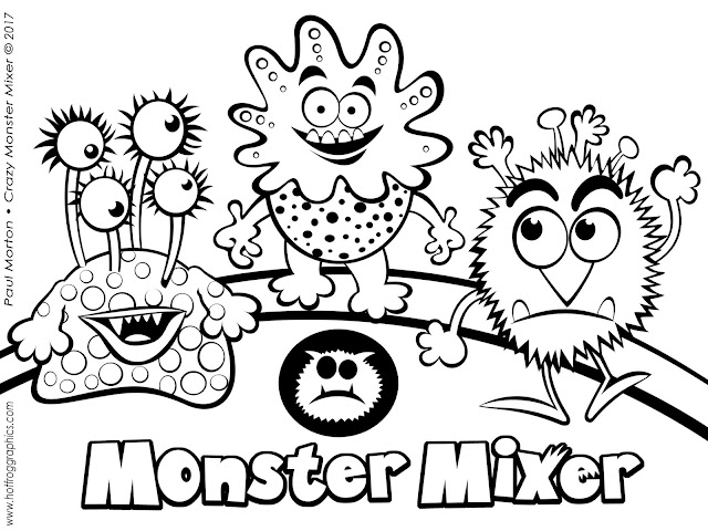 Free b/w Monsters picture to print off and colour in