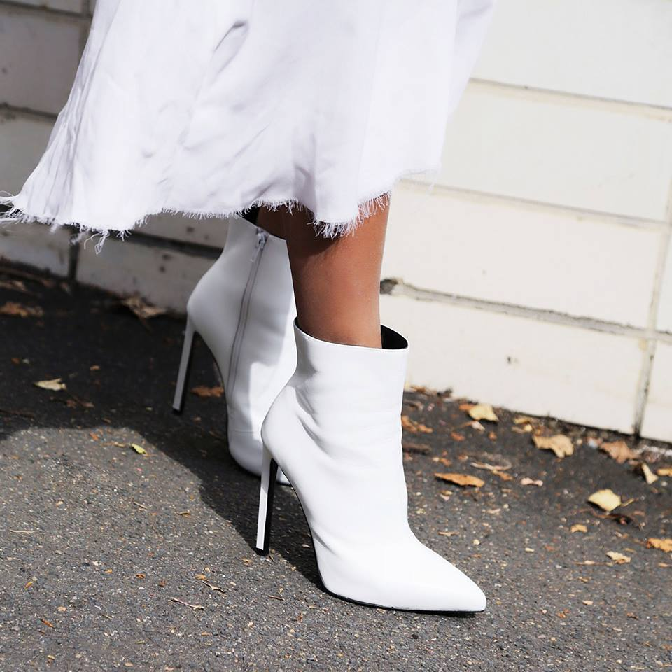 White pointed toe ankle boots