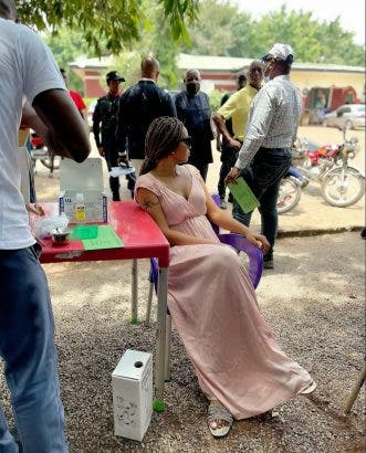 Regina Daniels shares pictures of herself taking coronavirus vaccine (Photos)
