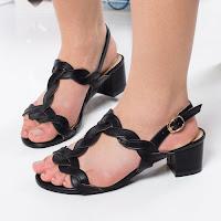 Sandale Kibler negre cu toc gros