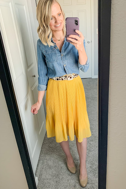 How to Wear a Yellow Pleated Skirt