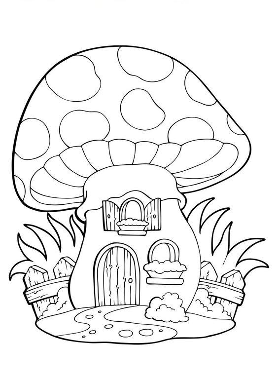 Tranh tô màu ngôi nhà nấm đẹp