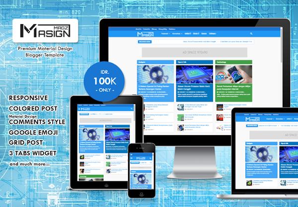 Masign Magz Premium Material Design Colored Blogger Template