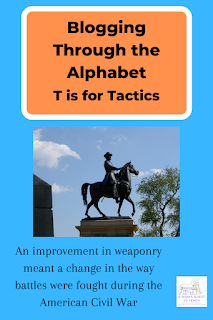 "Blogging Through the Alphabet: T is for Tactics; A Mom's Quest to Teach Logo; Hancock Statue photograph; ""An improvement in weaponry meant a change in the way battlers were fought during the American Civil War."""