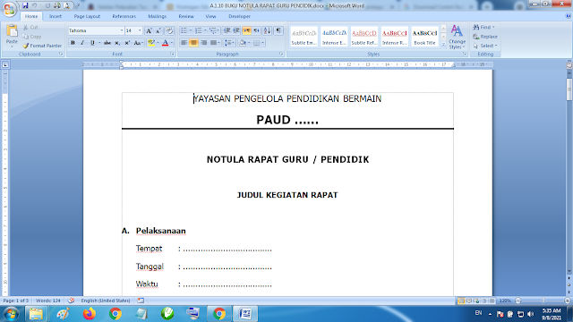 Download Contoh Buku Notula Rapat Guru Pendidik Paud TK KB RA
