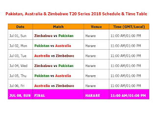 Pakistan Australia & Zimbabwe T20 Series 2018 Schedule & Time Table, Pakistan vs Australia t20 series 2018 schedule, Australia vs Pakistan 2018 schedule, 2018 cricket schedule, Pak vs. Aus 2018 t20 series, t20 cricket, Pakistan Australia tour of Zimbabwe, Aus vs Pak t20 series, full schedule,  Pakistan timing, Australian timing, GMT local time, match detail, Harare,