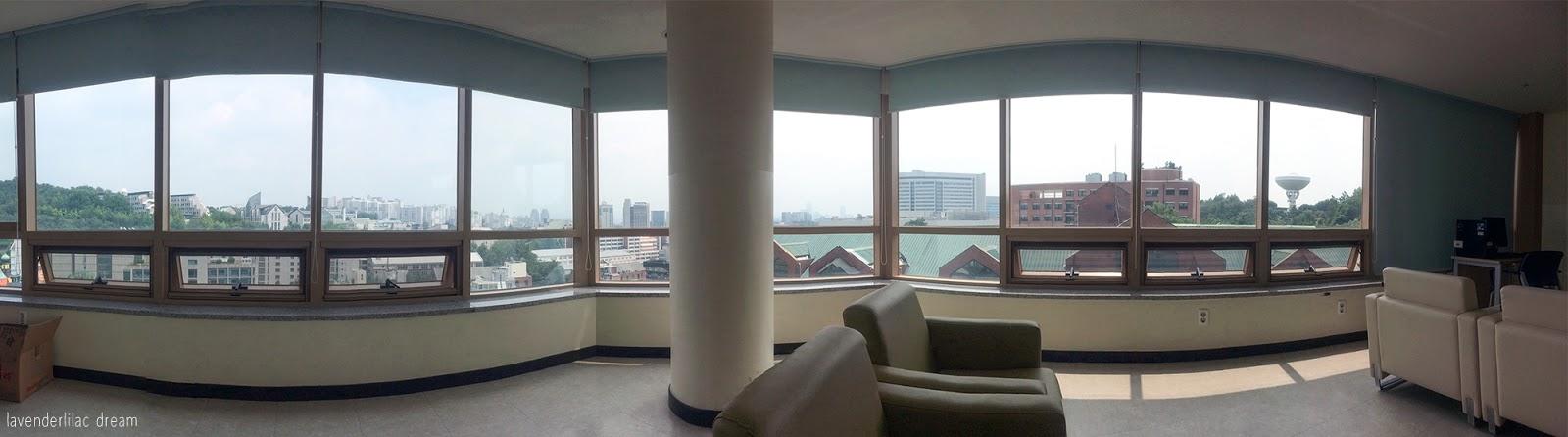 South Korea, Seoul, Sinchon, YISS 2014, Yonsei University, SK Global House, 7th floor lounge view