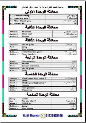 مراجعة ليلة امتحان اللغة الانجليزية للصف الثاني الابتدائي ترم اول 2021