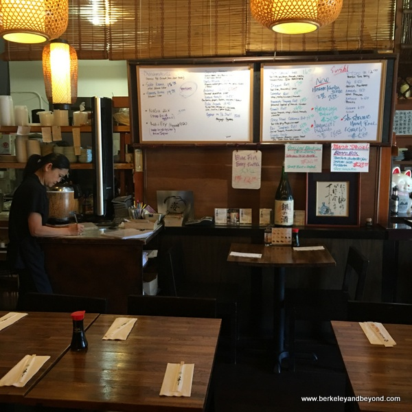 interior and menu board at Sugata Japanese Restaurant in Albany, California