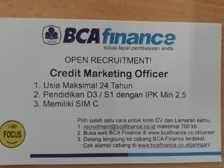 Lowongan Kerja BCA Finance – Credit Marketing Officer – D3/S1 (Oktober 2016)