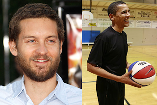 Tobey Maguire with obama