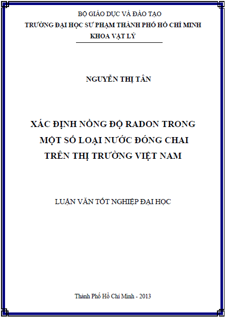 Xác định nồng độ radon trong một số loại nước đóng chai trên thị trường Việt Nam
