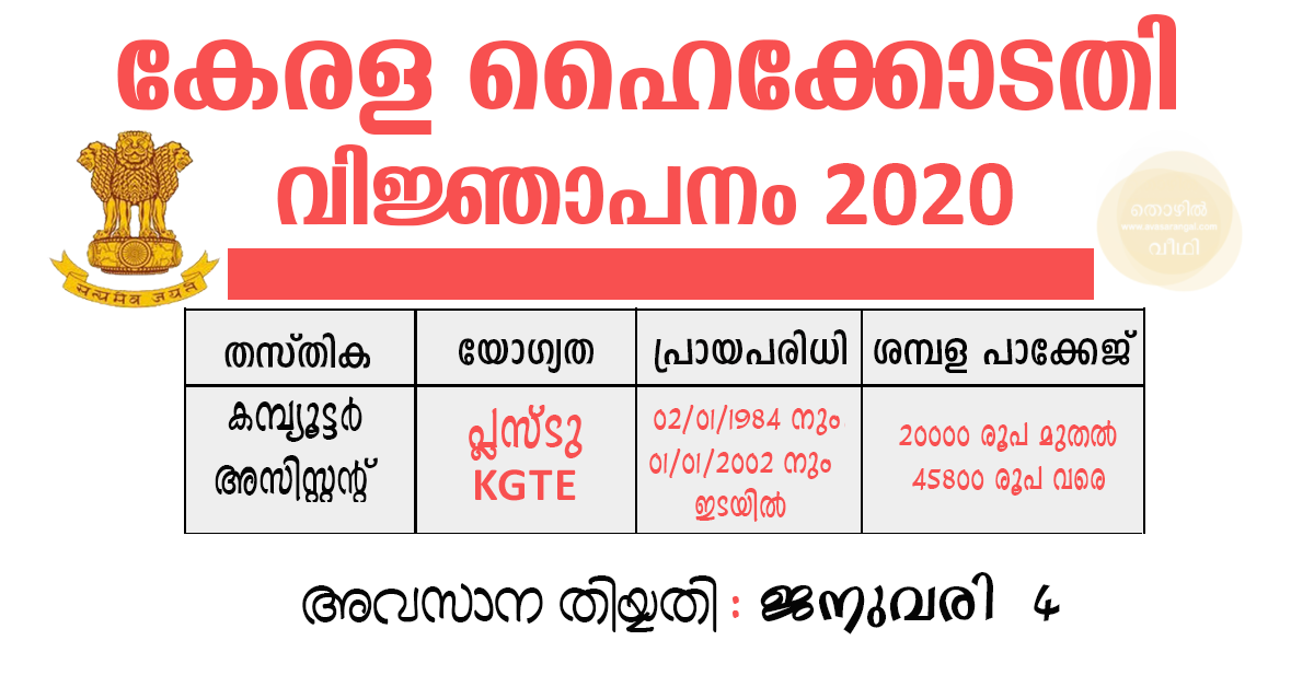 Kerala High Court Recruitment 2020│7 Computer Assistant Grade II Vacancies