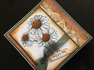 Hand made stamped and inked daisy birthday card.
