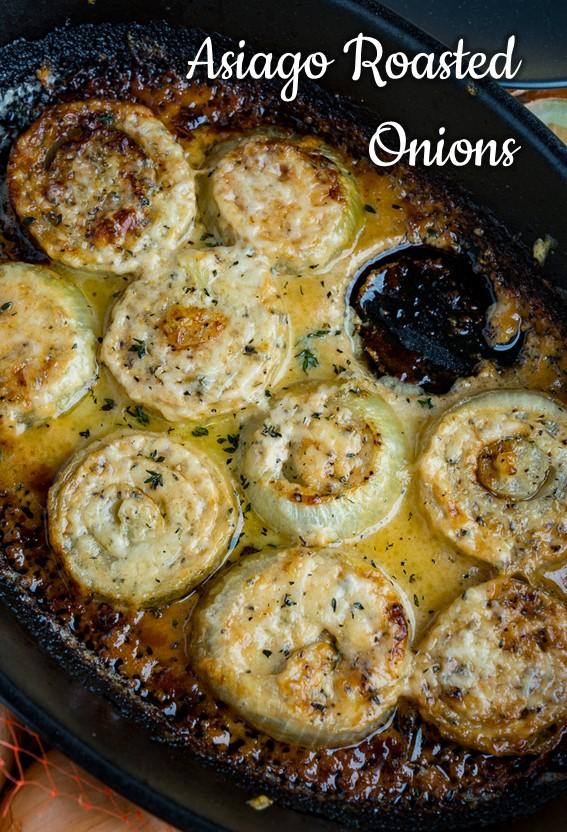Asiago Roasted Onions #Roasted #Onion #Asiago #Cheese