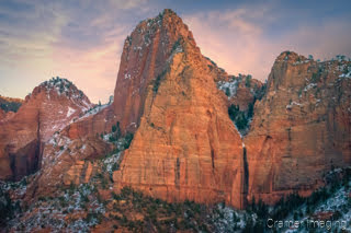 Cramer Imaging's fine art landscape photograph of Kolob Canyon's finger canyons in winter in Zion National Park, Utah at sunset