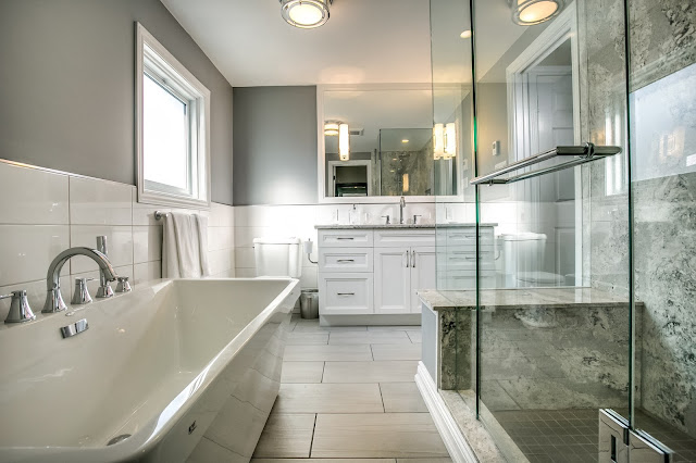 white ensuite bath design soaker tub cambria quartz shower