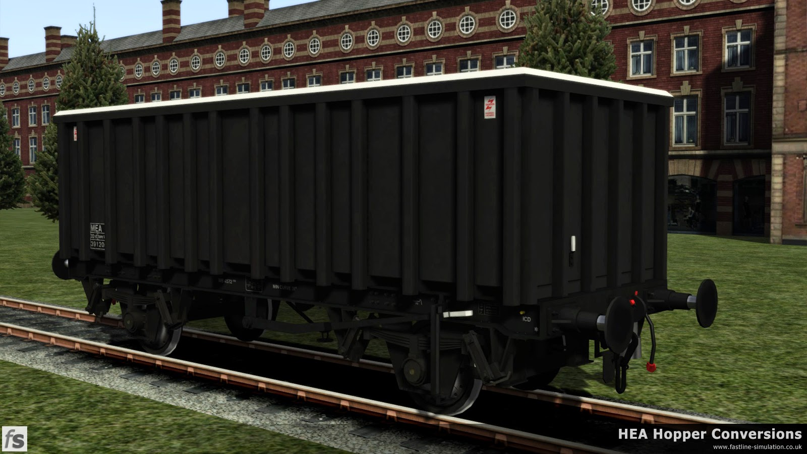 Fastline Simulation - HEA Conversions: Loadhaul followed Transrail in ordering a batch of MEA conversions. By the time the wagons were delivered Loadhaul had become a part of EWS and the wagons were delivered in plain black livery without the trademark Loadhaul orange ends and a white band around the top. End ladders were again not fitted to these wagons.