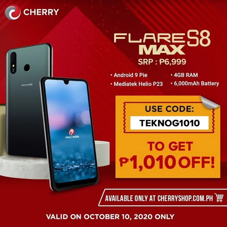 Cherry Mobile Flare S8 Max at Php1,010 Off this October 10 at Cherry Online Shop