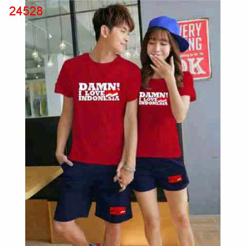 Jual Couple Setelan CS Damn I Love Indonesia Red Navy - 24528