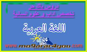 دروس اللغة العربية الباك حر اداب و علوم انسانية PDF مشاهدة و تحميل