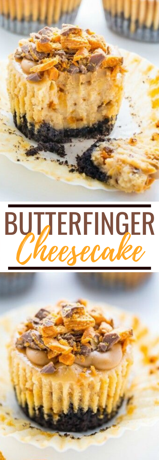 Butterfinger Cheesecake Cupcakes #cake #desserts #cupcakes #cheesecake #partyfood