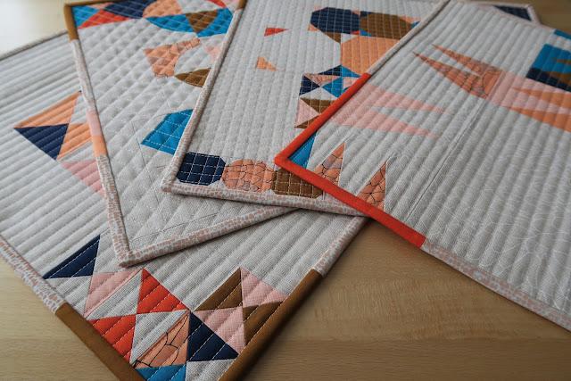Luna Lovequilts - Four Improv mini quilts - Class samples