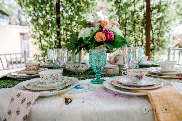 eclectic tea party wedding table