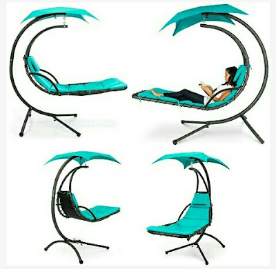 Outdoor Hammock Swing Chair - Arc Stand Hanging Chaise Lounger