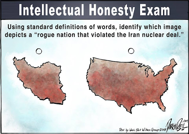 Title:  Intellectual Honesty Exam.  Image:  Pictures of Iran and the United States headed by a question:  Using standard definitions of words, identify which image depicts