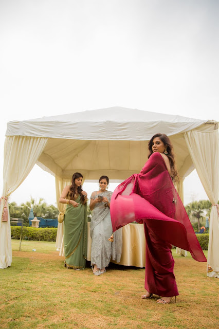 sagan, cocktail, great indian wedding, pooja mittal, saree draping, backless blouse, indian outfit, indo-western outfit