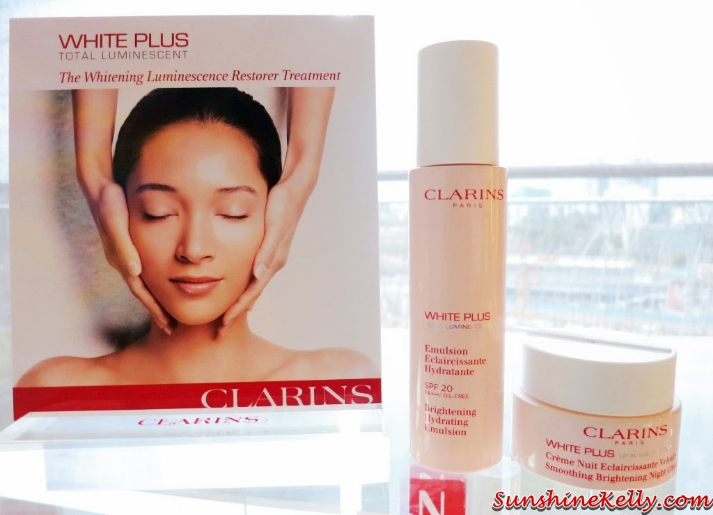 Clarins white plus total luminescent, review Clarins Brightening Hydrating Emulsion, review clarins Smoothing Brightening Night Cream, clarins, beauty, skincare