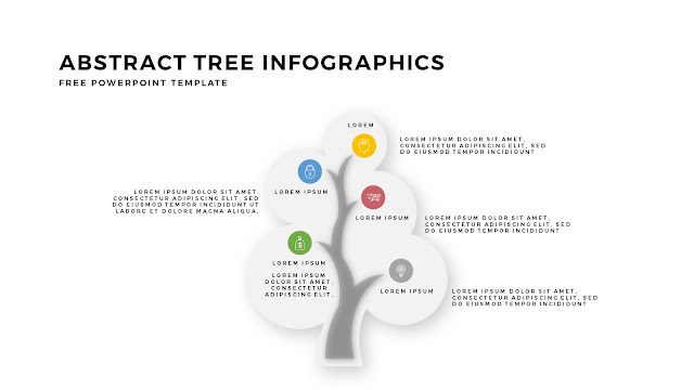 Abstract Tree PowerPoint Template with Circualr Leafs 5 Number Option in White Background