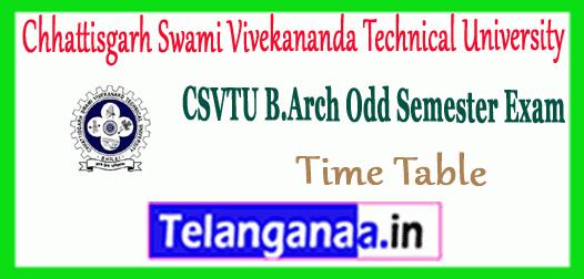 CSVTU Chhattisgarh Swami Vivekananda Technical University B.Arch Time Table