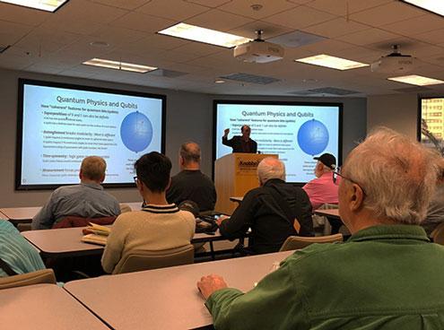 Dr. Justin Dressel, Chapman U., speaks on Quantum Computing at Association of Computing Machinery (ACM) meeting (Source: Daniel Whelen)