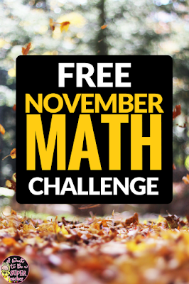 A FREE Thanksgiving or fall themed math activity. Just print and go! This November math challenge worksheet is perfect for advanced 2nd and 3rd graders. Use for math center activities, homework, problem of the week, small groups, or to get a breather during a holiday party. Fun for kids and NO PREP for teachers! Click for the free download. #education #math #secondgrade #thirdgrade #differentation