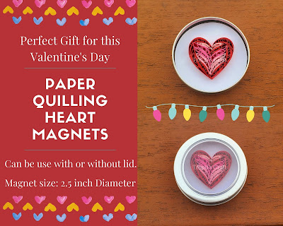 Paper Quilling Heart Magnet