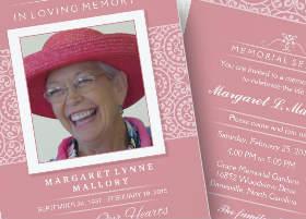 pink & white ladies memorial service invitation
