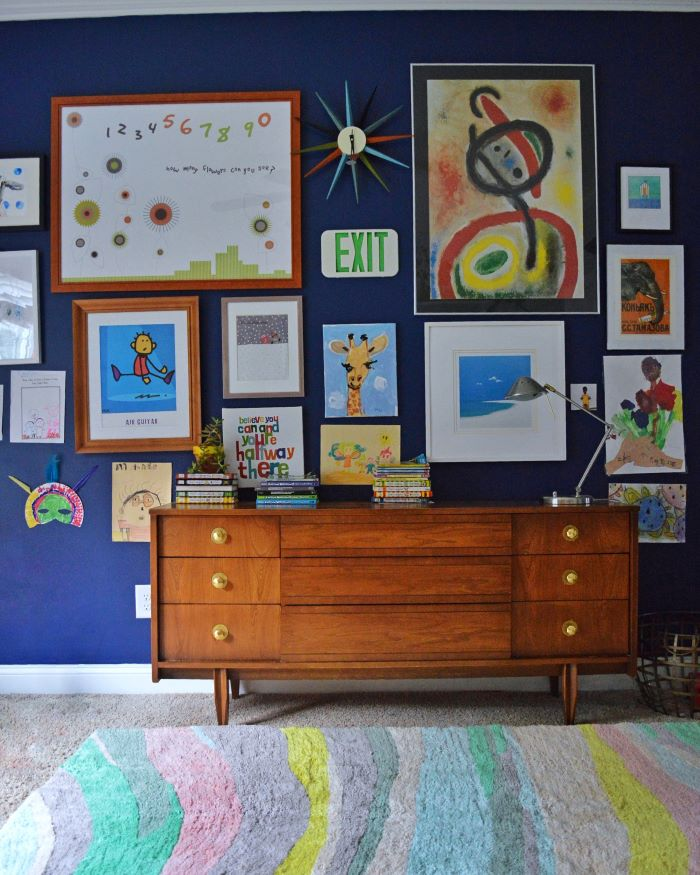 Accent wall backdrop for kid's art collection-designaddictmom